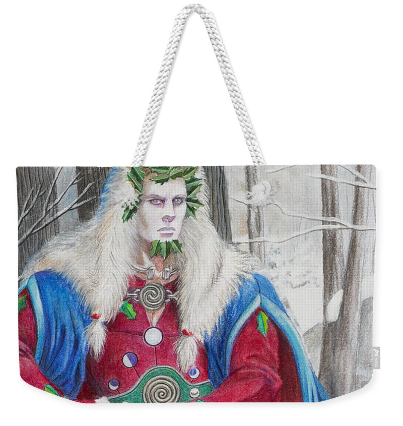 Pagan Weekender Tote Bag featuring the painting The Holly King by Melissa A Benson