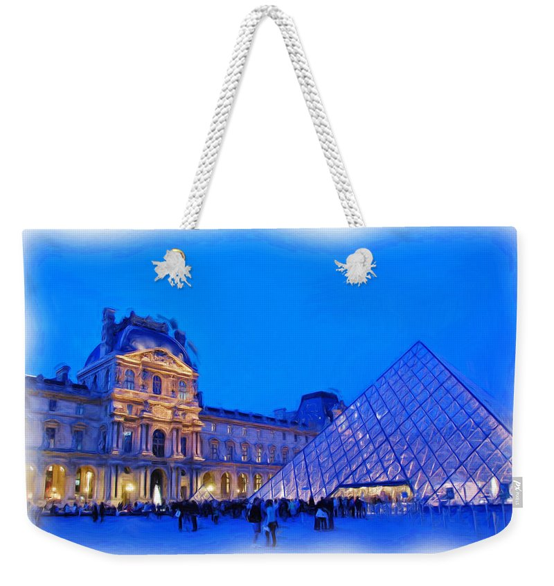 Digital Painting Weekender Tote Bag featuring the photograph The Louvre by Allen Beatty