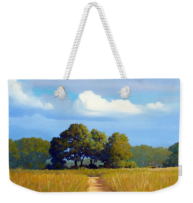Landscape Weekender Tote Bag featuring the painting The Path by Kevin Lawrence Leveque
