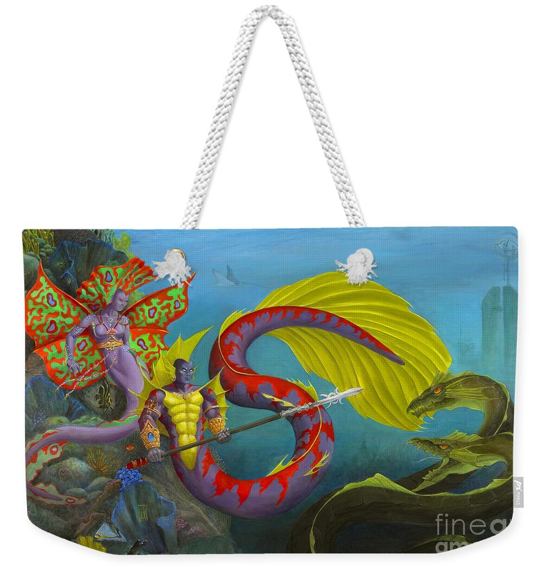 Mermaid Weekender Tote Bag featuring the painting The Threat by Melissa A Benson