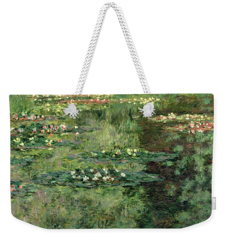 Etang Aux Nympheas Weekender Tote Bag featuring the painting The Waterlily Pond 2 by Claude Monet