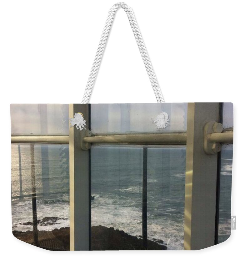 Yaquina Head Lighthouse Weekender Tote Bag featuring the photograph Through Lighthouse Window by Susan Garren
