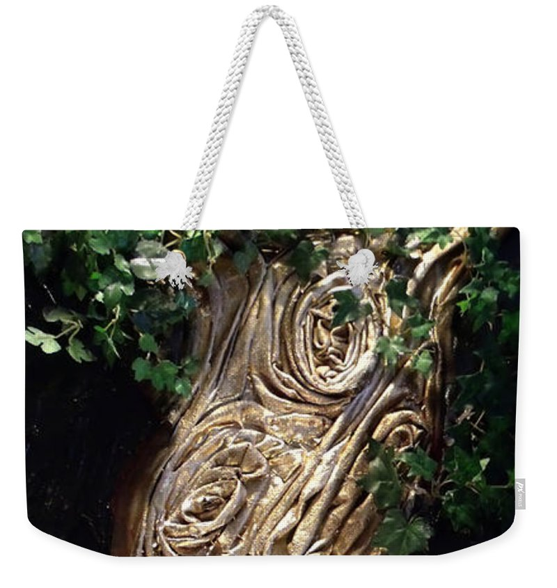 Tree Weekender Tote Bag featuring the mixed media Tree Goddess by Angela Stout