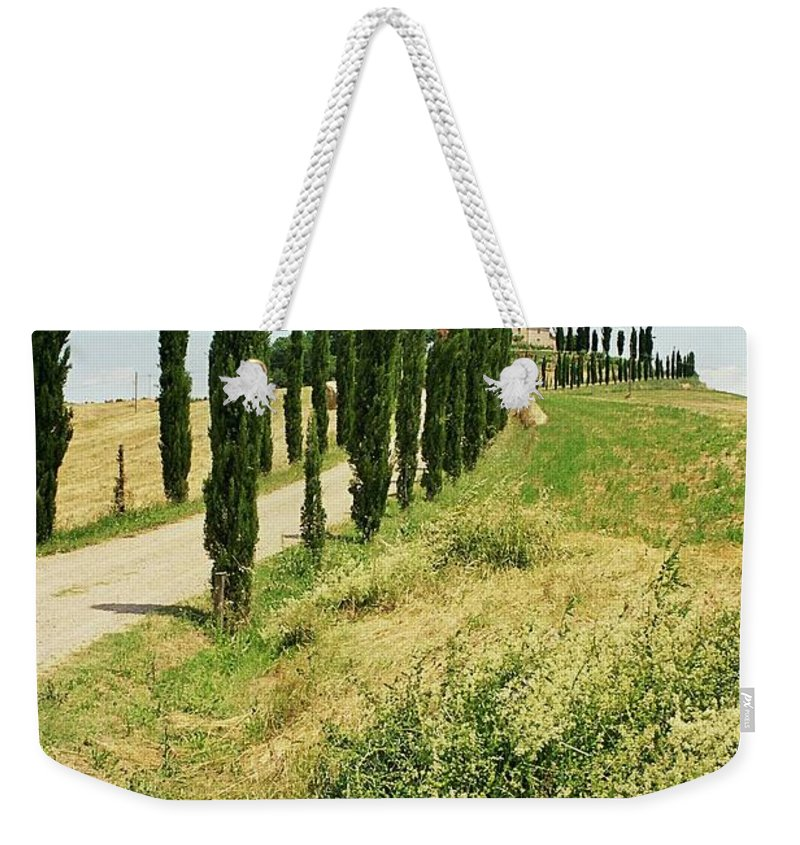 Cypress Weekender Tote Bag featuring the photograph Tuscany Landscape by Christiane Schulze Art And Photography