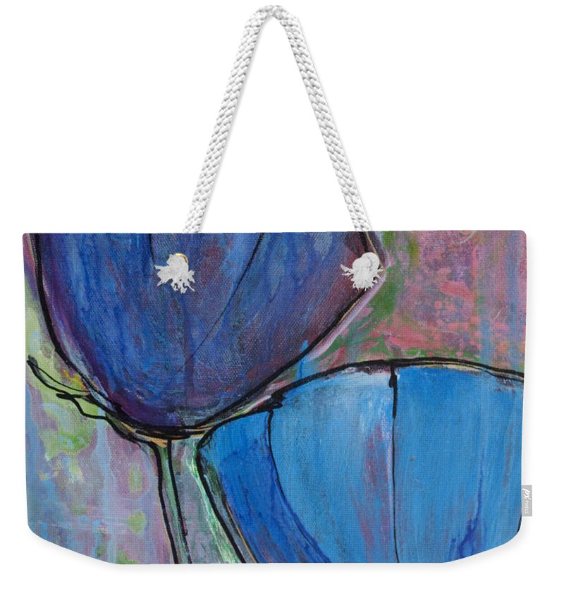 Blue Weekender Tote Bag featuring the painting Two Blue Poppies by Laurie Maves ART