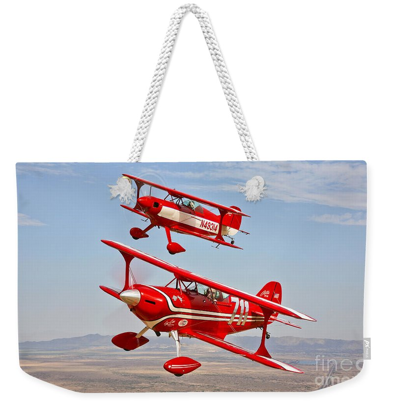 Horizontal Weekender Tote Bag featuring the photograph Two Pitts Special S-2a Aerobatic by Scott Germain