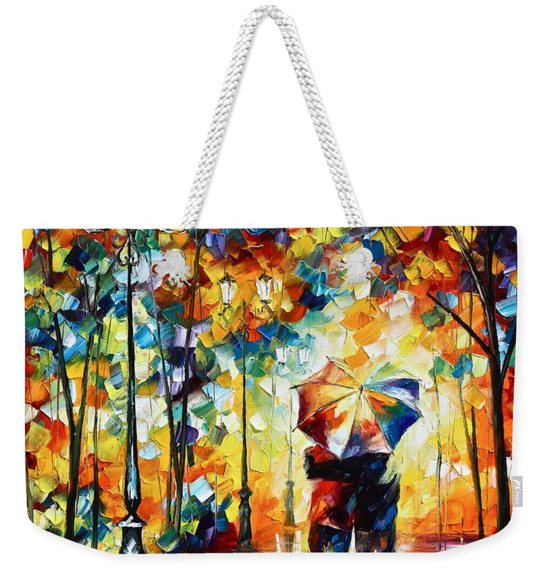 Couple Weekender Tote Bag featuring the painting Under one umbrella by Leonid Afremov