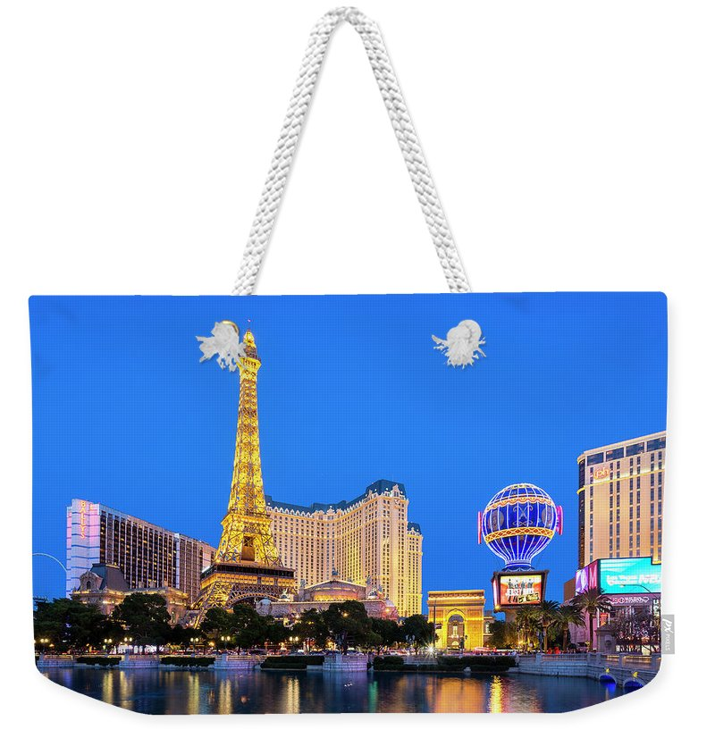 Las Vegas Replica Eiffel Tower Weekender Tote Bag featuring the photograph Usa, Nevada, Las Vegas, Paris Las Vegas by Sylvain Sonnet