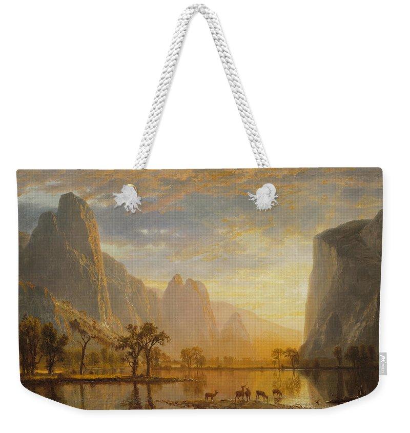 Albert Bierstadt Weekender Tote Bag featuring the painting Valley Of The Yosemite by Albert Bierstadt
