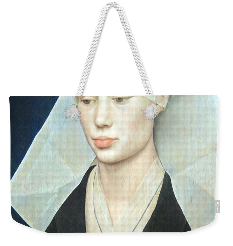 Portrait Of A Lady Weekender Tote Bag featuring the photograph Van Der Weyden's Portrait Of A Lady by Cora Wandel