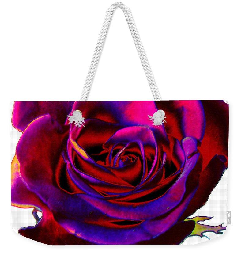 Velvet Weekender Tote Bag featuring the digital art Velvet Rose by Carol Lynch