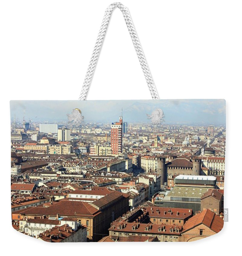 Torino Weekender Tote Bag featuring the photograph View Of Turin by Valentino Visentini