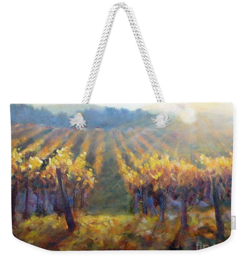 Vineyard Weekender Tote Bag featuring the painting Vineyard Sunset by Carolyn Jarvis
