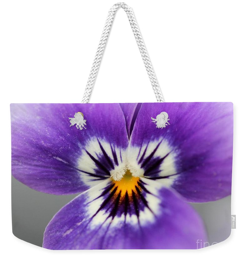 Mccombie Weekender Tote Bag featuring the photograph Viola Named Sorbet Marina Baby Face by J McCombie