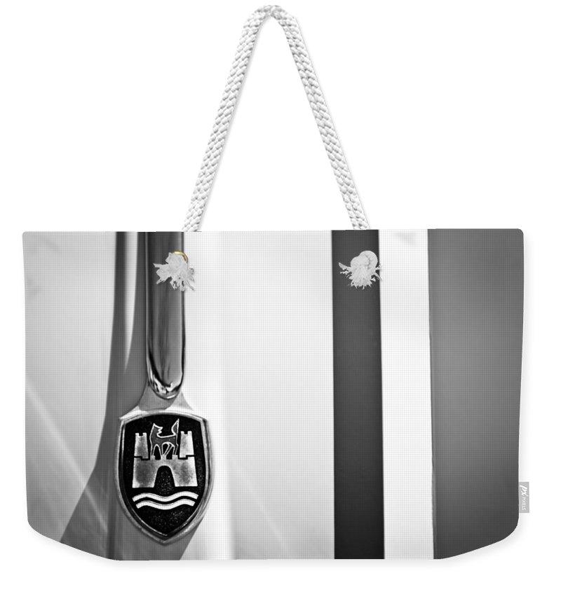 Volkswagen Vw Hood Emblem Weekender Tote Bag featuring the photograph Volkswagen Vw Hood Emblem by Jill Reger