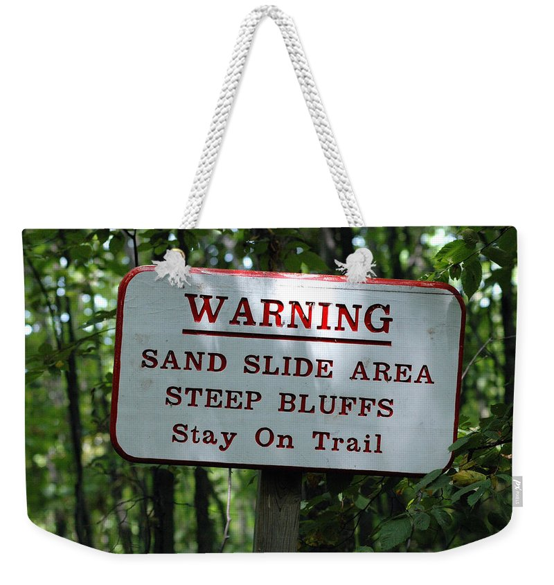 Landscape Weekender Tote Bag featuring the photograph Warning Sign by Scott Angus