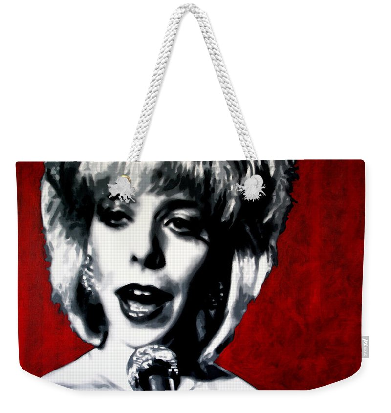 Laura Palmer Weekender Tote Bag featuring the painting Was It Me Was It You by Luis Ludzska