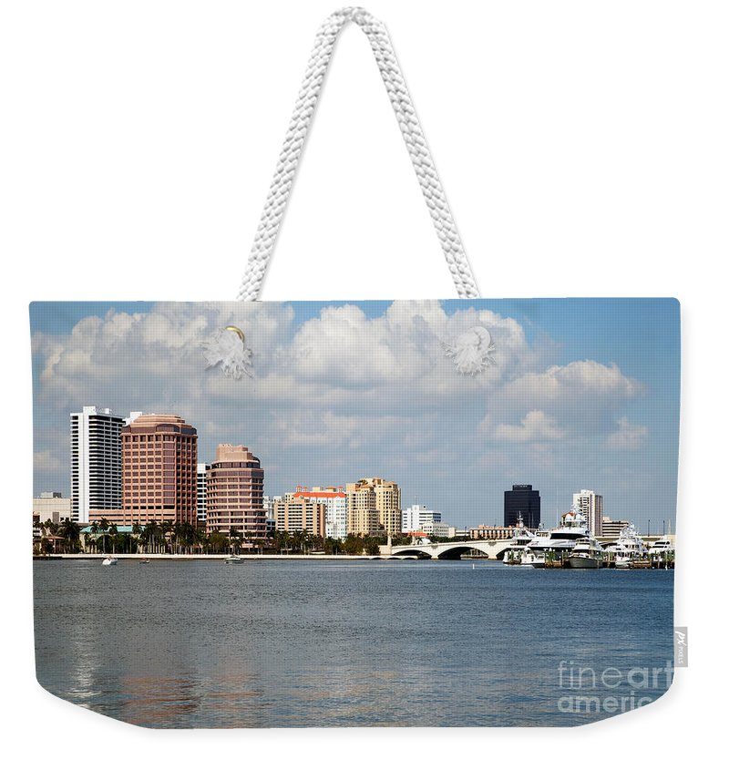 Florida Weekender Tote Bag featuring the photograph West Palm Beach Skyline by Bill Cobb