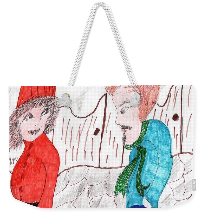 Girl And A Guy Snow Cobbled Street Weekender Tote Bag featuring the mixed media Will You Go Out With Me by Elinor Rakowski