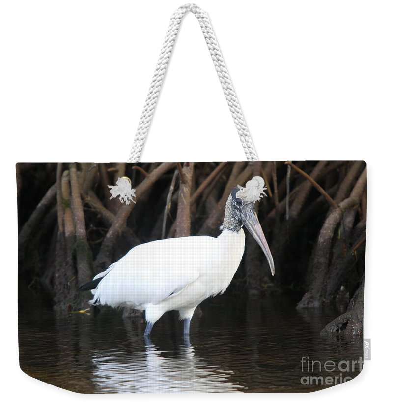 Wood Stork Weekender Tote Bag featuring the photograph Wood Stork In The Swamp by Christiane Schulze Art And Photography