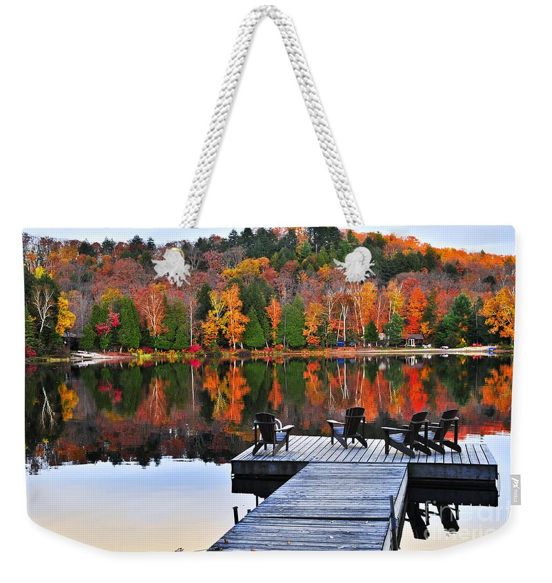Autumn Reflection Weekender Tote Bags