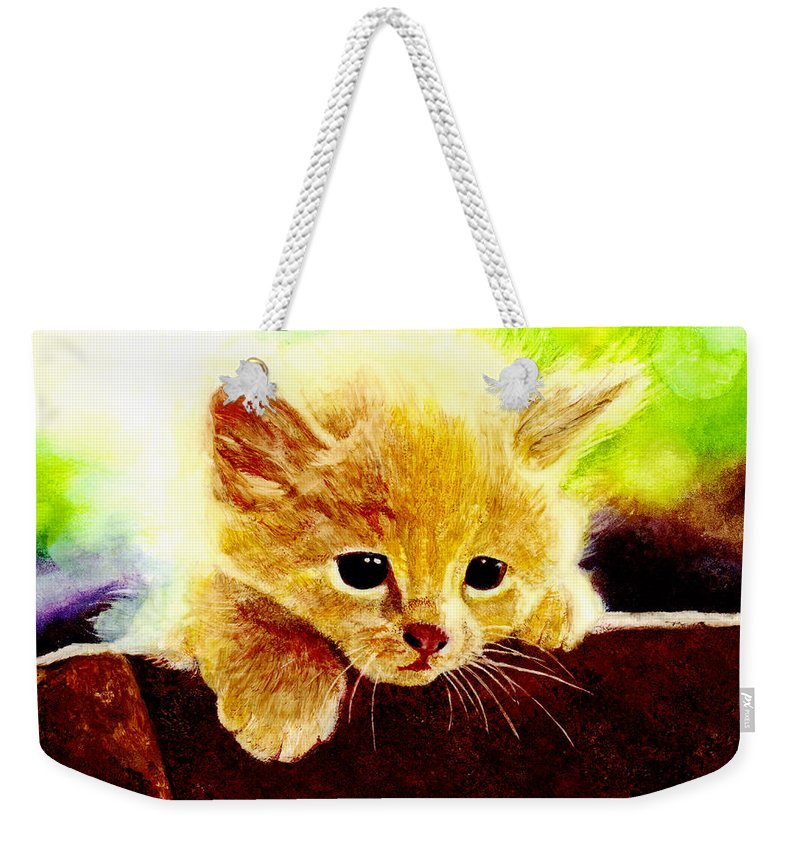 Kitten Weekender Tote Bag featuring the painting Yellow Kitten by Hailey E Herrera