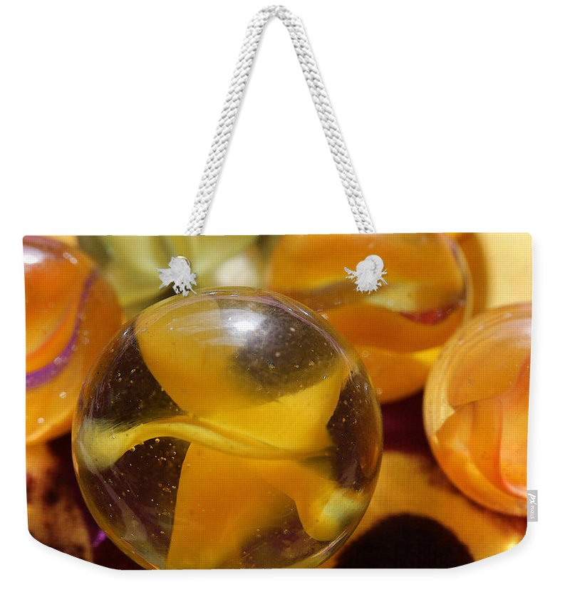 Marble Weekender Tote Bag featuring the photograph Yellow Marbles by Mary Bedy