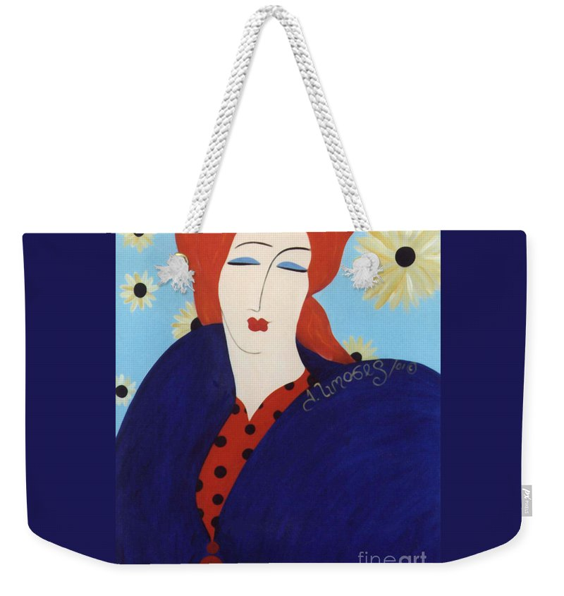 #female Weekender Tote Bag featuring the painting 2001 Collection by Jacquelinemari