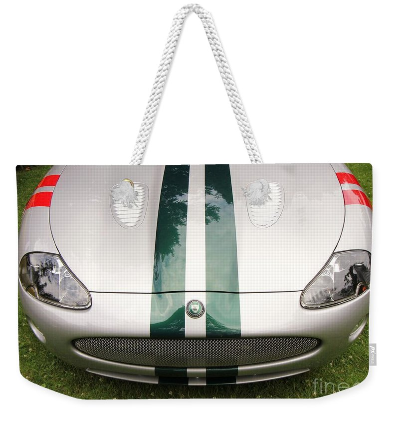 Jaguar Car Weekender Tote Bag featuring the photograph 2005 Jaguar Xkr Stirling Moss Signature Edition by Allen Beatty