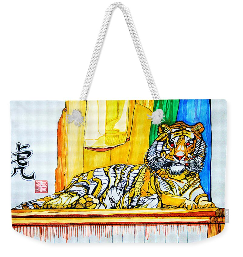Acrylic Painting Weekender Tote Bag featuring the painting 2010 Year Of The Tiger by Michael C Crane
