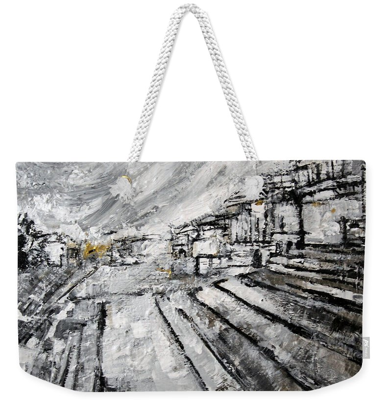 U.s. Capitol Building Weekender Tote Bag featuring the painting 2012 121 Stairs U S Capitol Washington D C by Alyse Radenovic
