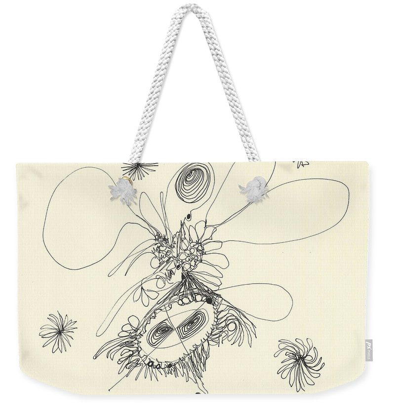 Modern Weekender Tote Bag featuring the drawing 2012 Drawing 37 by Lynne Taetzsch