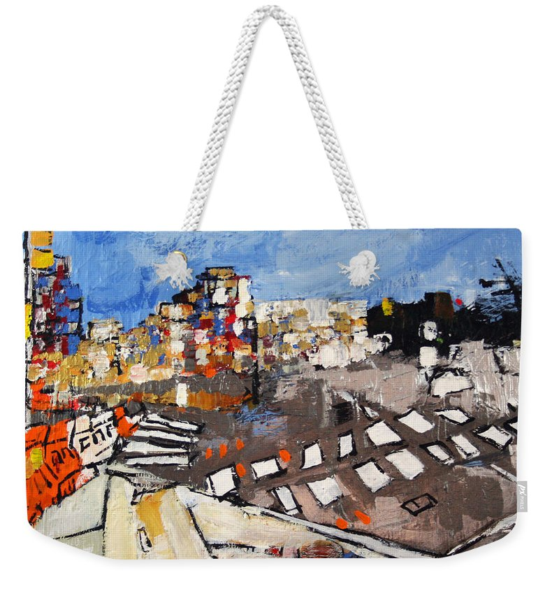 Virginia Weekender Tote Bag featuring the painting 2013 015 Crosswalk Silver Orange And Blue Arlington Virginia by Alyse Radenovic