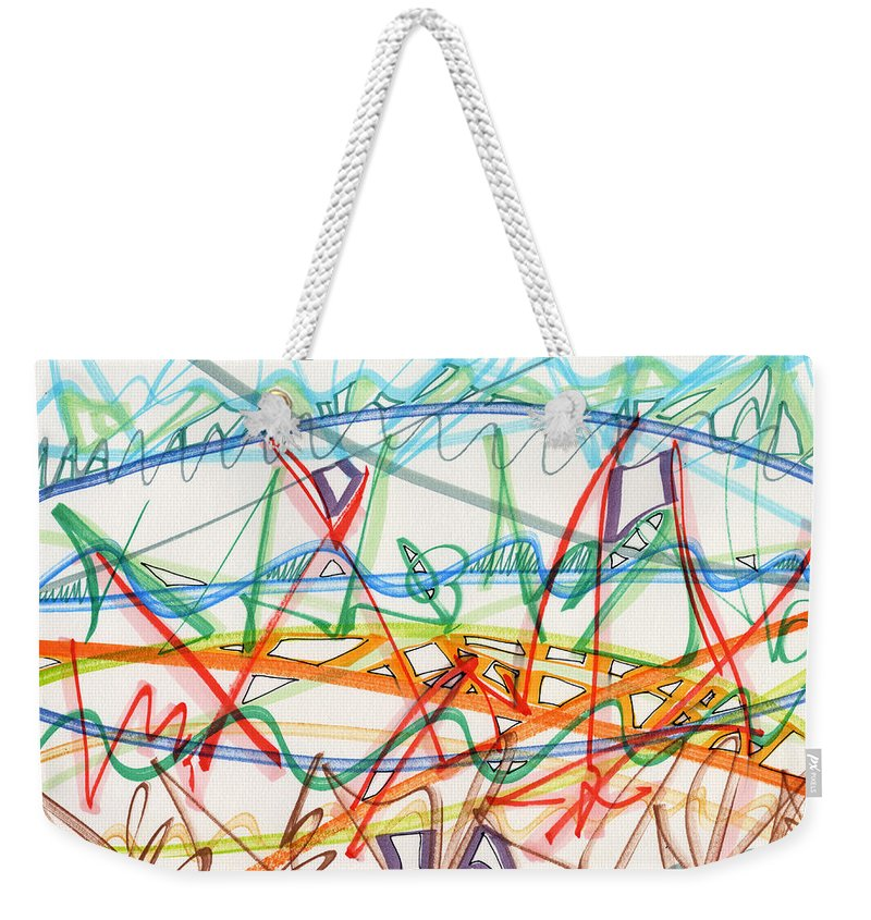 Abstract Weekender Tote Bag featuring the drawing 2013 Abstract Drawing #7 by Lynne Taetzsch
