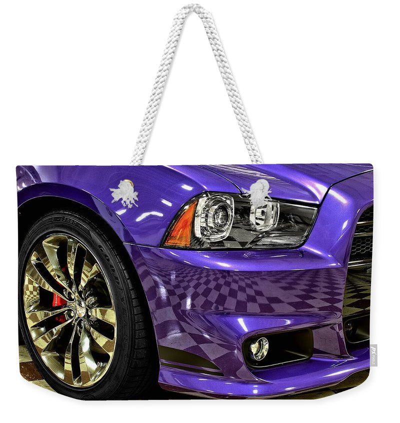2013 Weekender Tote Bag featuring the photograph 2013 Dodge Charger Headlight by Michael Gordon