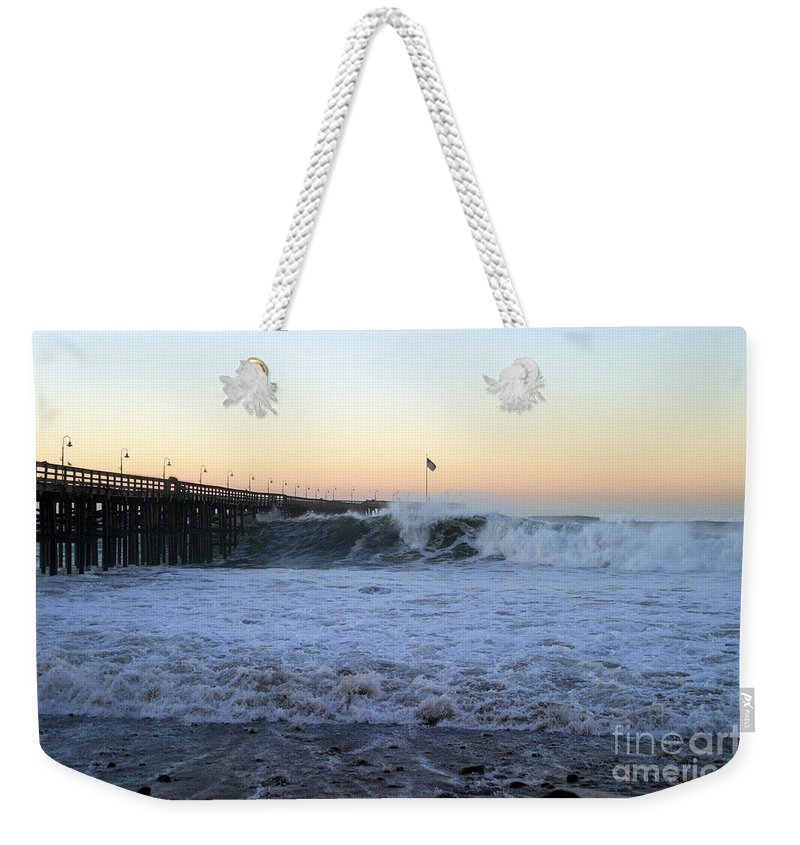 Storm Weekender Tote Bag featuring the photograph Ocean Wave Storm Pier by Henrik Lehnerer