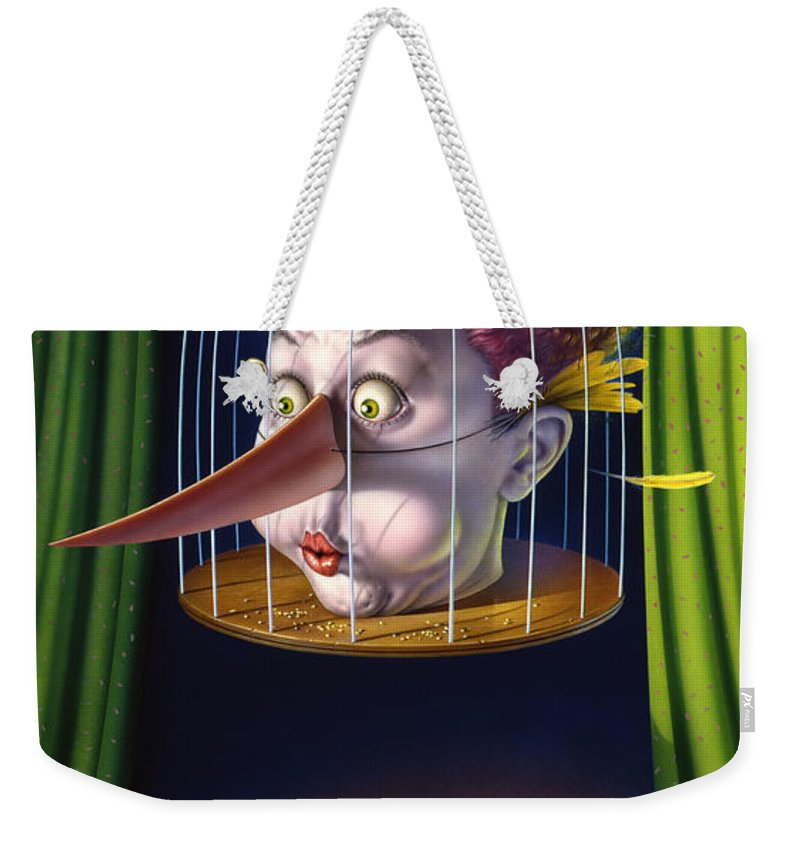 Bird Weekender Tote Bag featuring the painting 24th Annual Waxdeck's Bird Calling Contest by Mark Fredrickson
