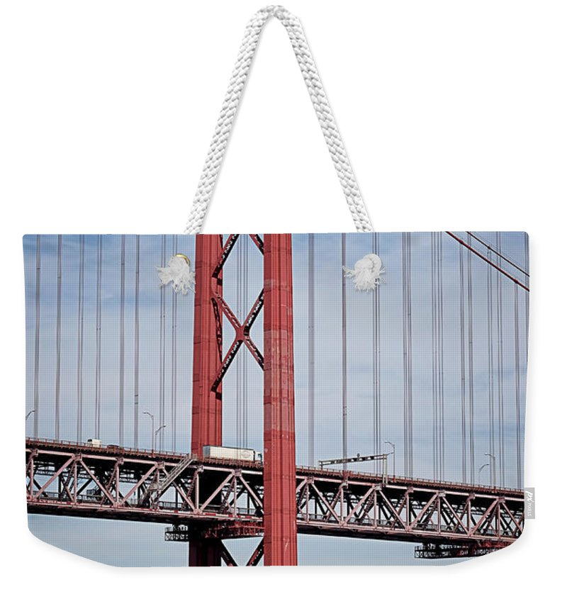 Bridge Weekender Tote Bag featuring the photograph 25 De Abril Bridge by Lucinda Walter