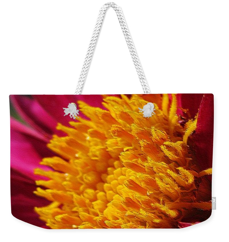 Dahlia Weekender Tote Bag featuring the digital art Dahlia From The Showpiece Mix by J McCombie
