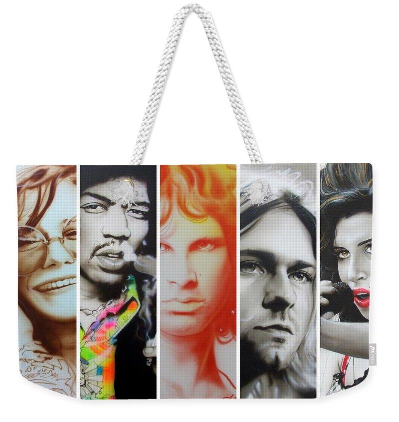 Jimi Hendrix Weekender Tote Bag featuring the painting 27 Eternal by Christian Chapman Art