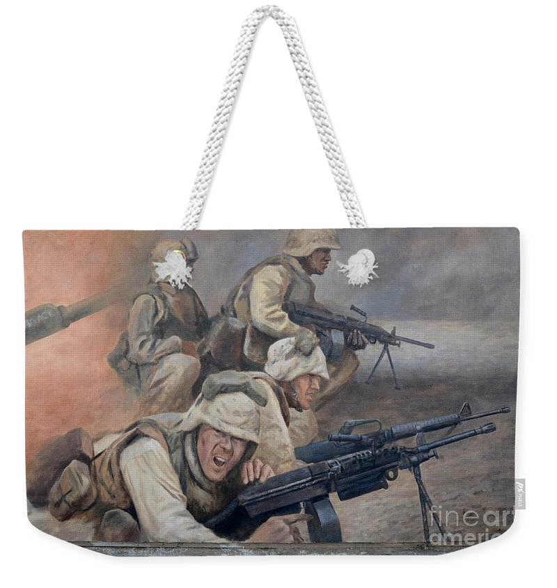 Mural Weekender Tote Bag featuring the photograph 29 Palms Mural 1 by Bob Christopher