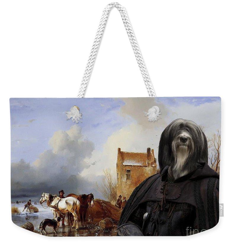 Tibetan Terrier Weekender Tote Bag featuring the painting Tibetan Terrier Art Canvas Print by Sandra Sij