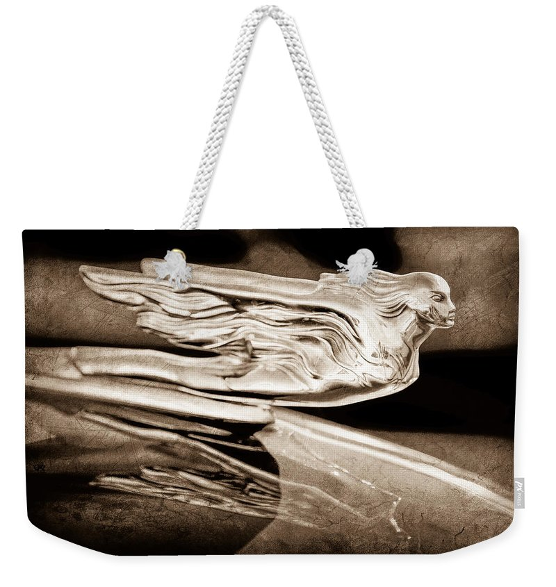1941 Cadillac Hood Ornament Weekender Tote Bag featuring the photograph 1941 Cadillac Hood Ornament by Jill Reger