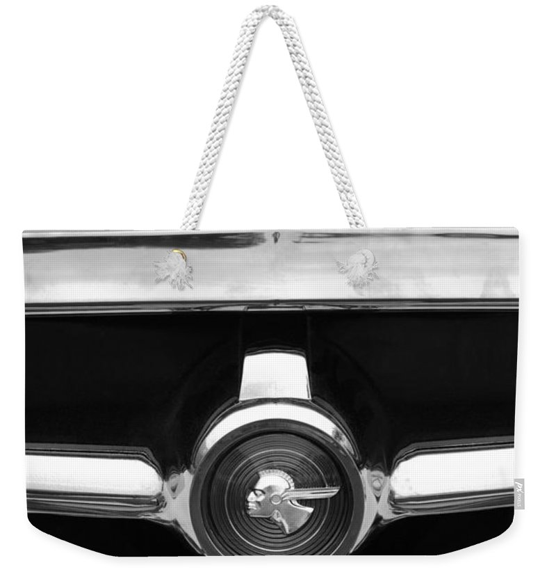 1951 Pontiac Streamliner Grille Emblem Weekender Tote Bag featuring the photograph 1951 Pontiac Streamliner Grille Emblem by Jill Reger