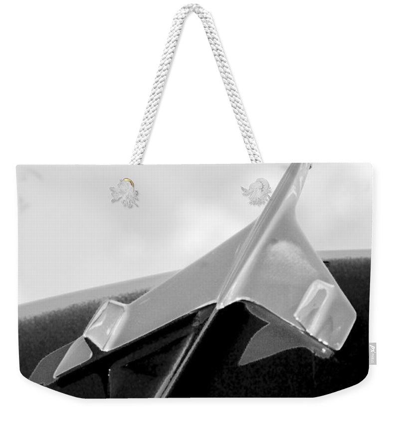1956 Chevrolet Belair Weekender Tote Bag featuring the photograph 1956 Chevrolet Belair Hood Ornament by Jill Reger