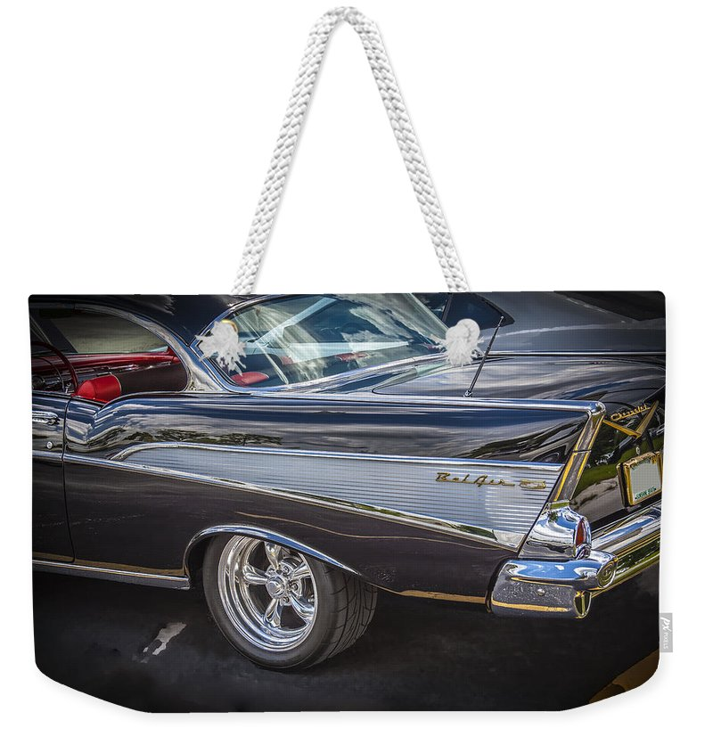 V8 Engine Weekender Tote Bag featuring the photograph 1957 Chevrolet Bel Air by Rich Franco
