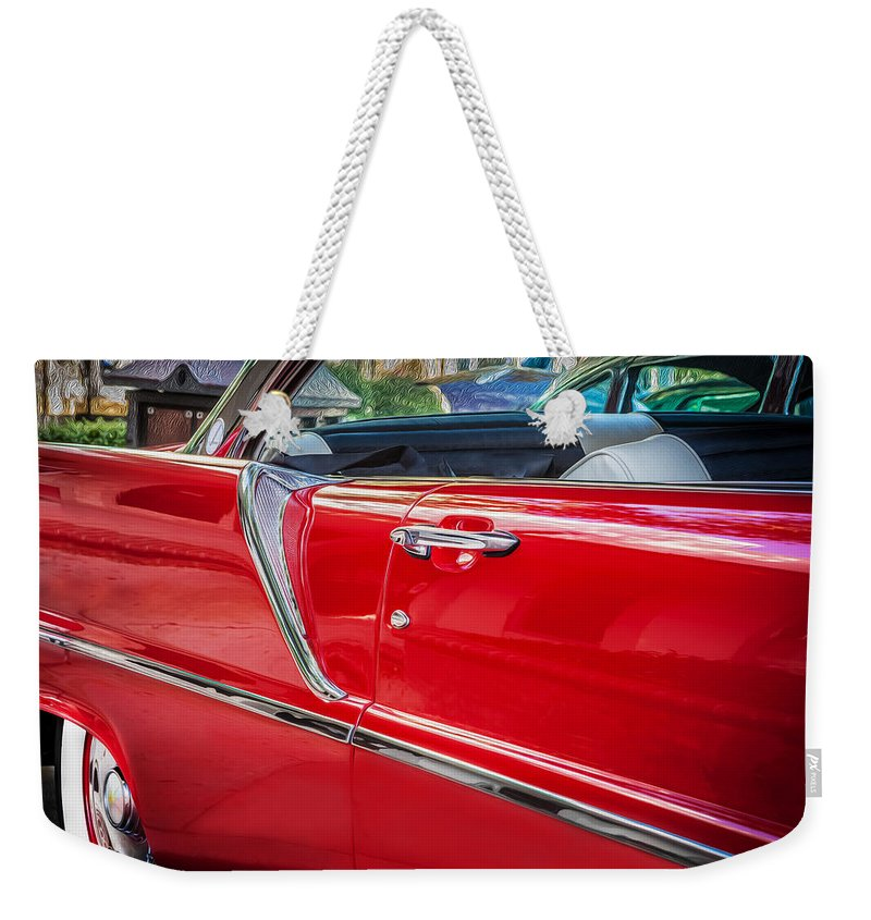 Lincoln Weekender Tote Bag featuring the photograph 1957 Lincoln Premiere Coupe Painted by Rich Franco