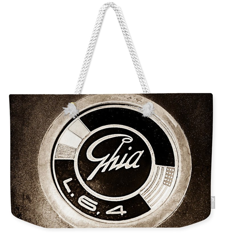 1962 Ghia L6.4 Coupe Emblem Weekender Tote Bag featuring the photograph 1962 Ghia L6.4 Coupe Emblem by Jill Reger