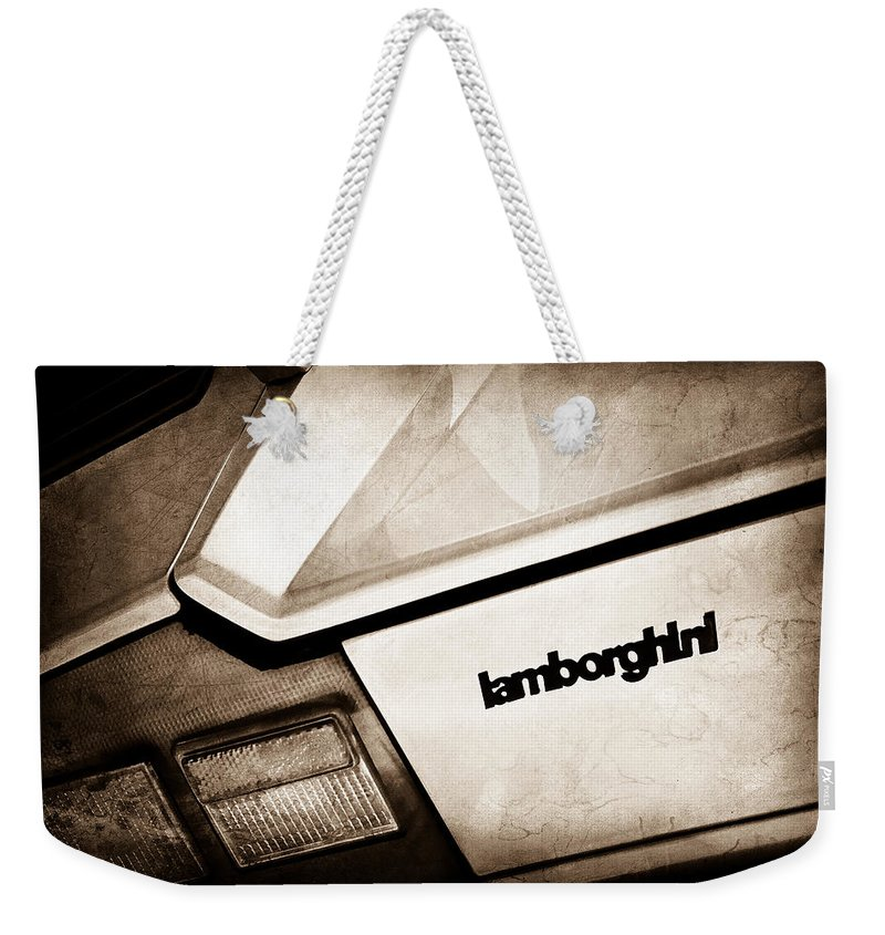 1982 Lamborghini Countach 5000s Taillight Emblem Weekender Tote Bag featuring the photograph 1982 Lamborghini Countach 5000s Taillight Emblem by Jill Reger