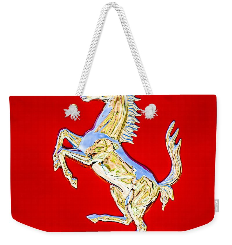 1999 Ferrari 550 Maranello Stallion Emblem Weekender Tote Bag featuring the photograph 1999 Ferrari 550 Maranello Stallion Emblem by Jill Reger